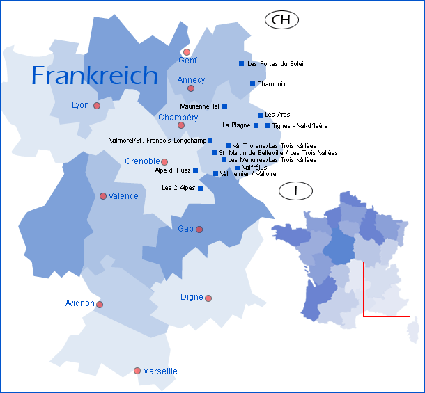 skigebiete frankreich karte Karte mit Übersicht der Regionen in Frankreich   winterreise.de