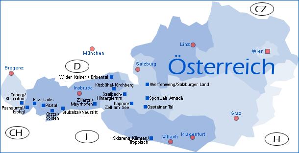Karte Mit Ubersicht Der Regionen In Osterreich Winterreise De